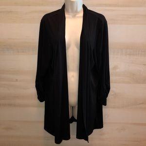 Susan Graver XL Black Open Cardigan Liquid Knit